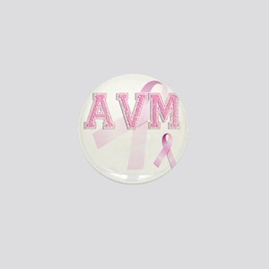 AVM initials, Pink Ribbon, Mini Button