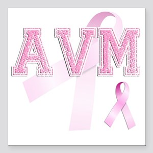"""AVM initials, Pink Ribbo Square Car Magnet 3"""" x 3"""""""