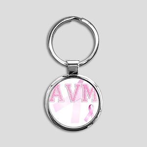 AVM initials, Pink Ribbon, Round Keychain