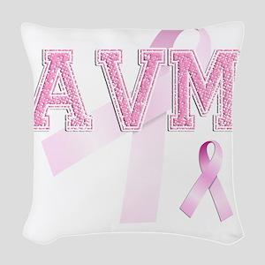 AVM initials, Pink Ribbon, Woven Throw Pillow