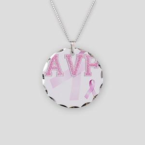 AVF initials, Pink Ribbon, Necklace Circle Charm