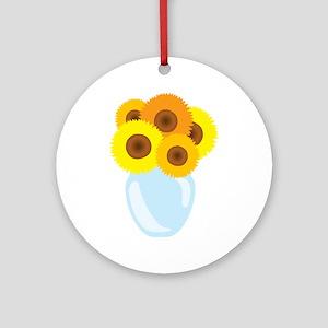 Sunflower Vase Ornament (Round)