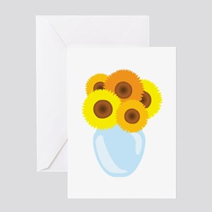 Sunflower Vase Greeting Cards