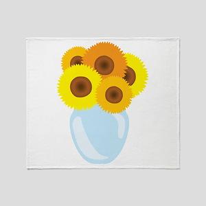 Sunflower Vase Throw Blanket