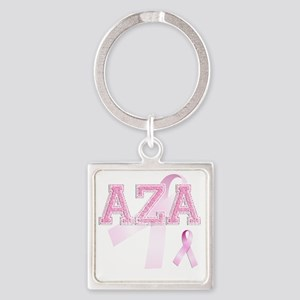 AZA initials, Pink Ribbon, Square Keychain