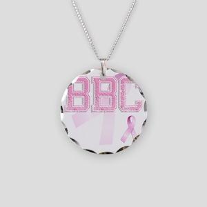 BBC initials, Pink Ribbon, Necklace Circle Charm