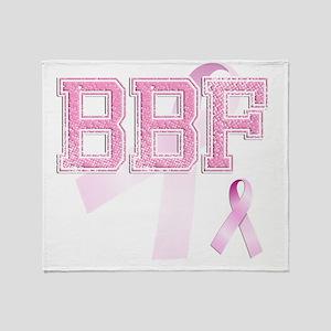 BBF initials, Pink Ribbon, Throw Blanket