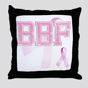 BBF initials, Pink Ribbon, Throw Pillow