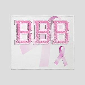 BBB initials, Pink Ribbon, Throw Blanket