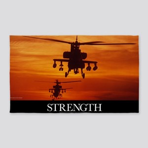 Military Poster: Four AH-64 Apache  3'x5' Area Rug