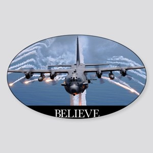 Military Poster: An AC-130H Gunship Sticker (Oval)