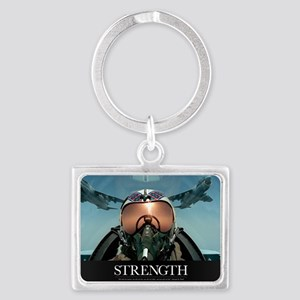 Military Poster: A pilot takes  Landscape Keychain
