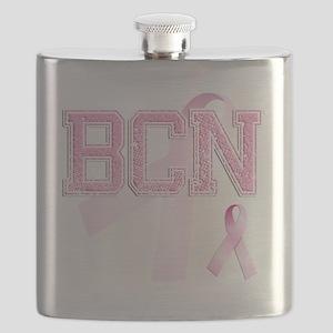BCN initials, Pink Ribbon, Flask