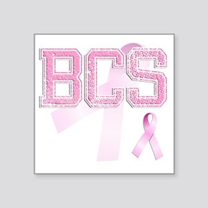 "BCS initials, Pink Ribbon, Square Sticker 3"" x 3"""