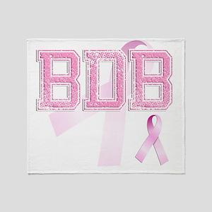 BDB initials, Pink Ribbon, Throw Blanket