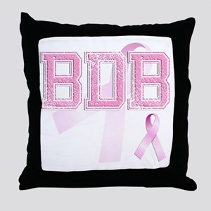BDB initials, Pink Ribbon, Throw Pillow