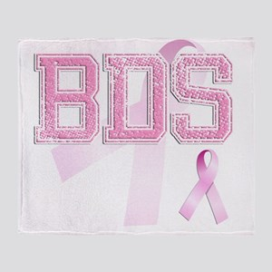 BDS initials, Pink Ribbon, Throw Blanket