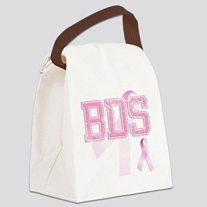 BDS initials, Pink Ribbon, Canvas Lunch Bag