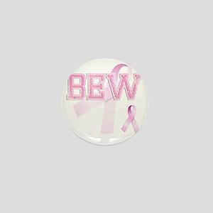 BEW initials, Pink Ribbon, Mini Button