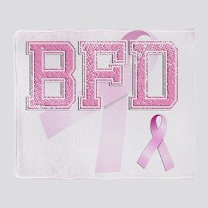 BFD initials, Pink Ribbon, Throw Blanket