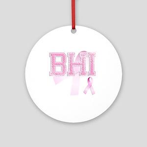 BHI initials, Pink Ribbon, Round Ornament