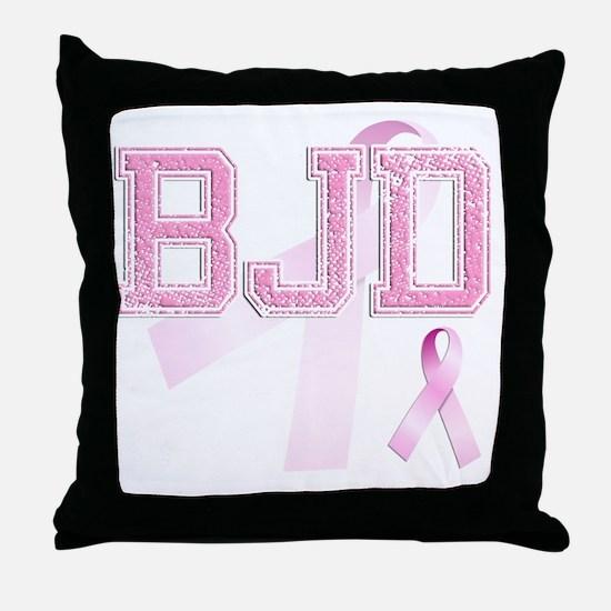 BJD initials, Pink Ribbon, Throw Pillow