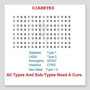 "Searching To Cure Diabet Square Car Magnet 3"" x 3"""