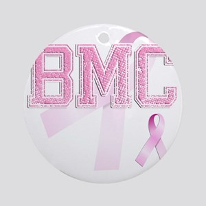 BMC initials, Pink Ribbon, Round Ornament