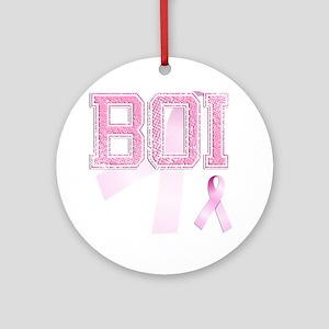 BOI initials, Pink Ribbon, Round Ornament