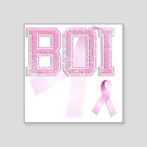 "BOI initials, Pink Ribbon, Square Sticker 3"" x 3"""