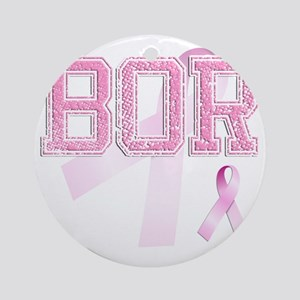 BOR initials, Pink Ribbon, Round Ornament