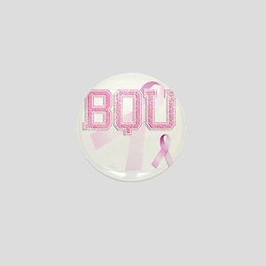 BQU initials, Pink Ribbon, Mini Button