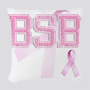BSB initials, Pink Ribbon, Woven Throw Pillow