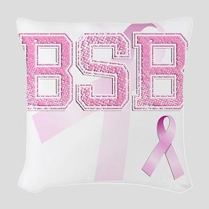 BSB initials, Pink Ribbon, Woven Throw Pillow