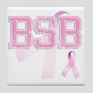 BSB initials, Pink Ribbon, Tile Coaster