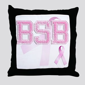 BSB initials, Pink Ribbon, Throw Pillow