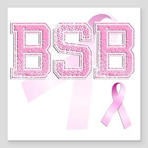 "BSB initials, Pink Ribbo Square Car Magnet 3"" x 3"""