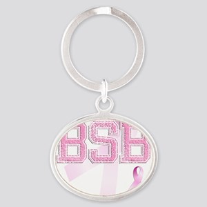 BSB initials, Pink Ribbon, Oval Keychain