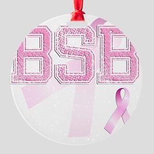 BSB initials, Pink Ribbon, Round Ornament