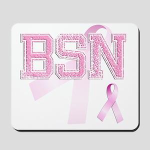 BSN initials, Pink Ribbon, Mousepad