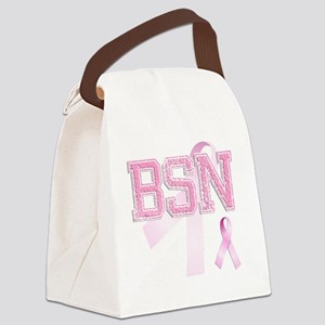 BSN initials, Pink Ribbon, Canvas Lunch Bag