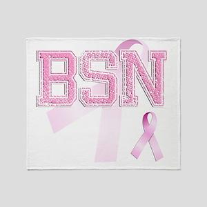 BSN initials, Pink Ribbon, Throw Blanket