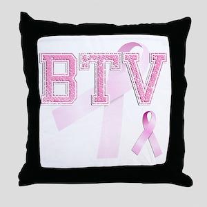 BTV initials, Pink Ribbon, Throw Pillow