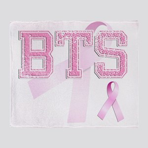 BTS initials, Pink Ribbon, Throw Blanket