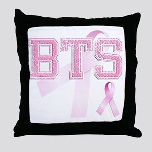 BTS initials, Pink Ribbon, Throw Pillow