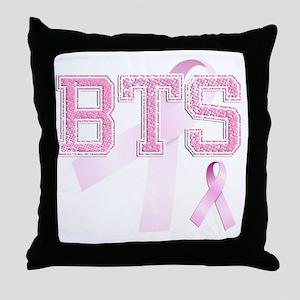 BTS initials, Pink Ribbon, Throw Pillow