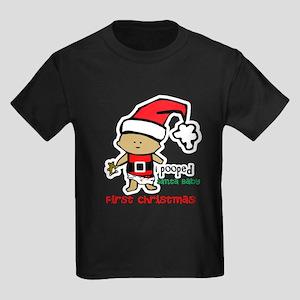 Customize Baby's First Christmas Kids Dark T-Shirt