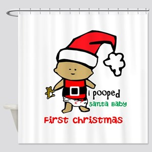 Customize Baby's First Christmas Shower Curtain