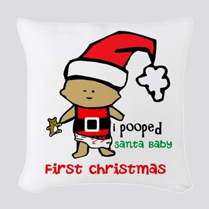 Customize Baby's First Christmas Woven Throw Pillo
