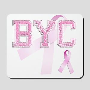 BYC initials, Pink Ribbon, Mousepad